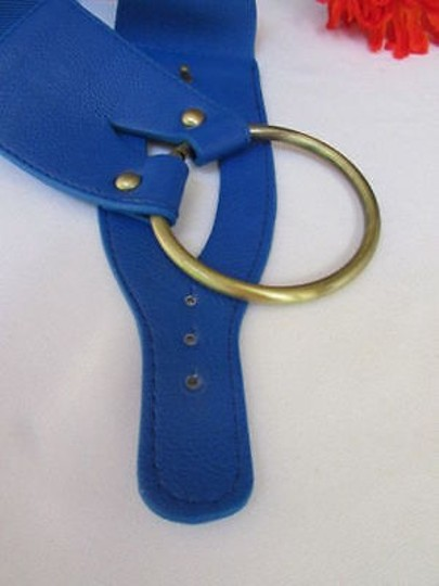 Other Women Blue Belt Gold Metal Ring Buckle Hip Waist
