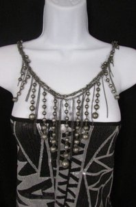 Other Women Front Back Fashion Necklace Antique Silver Metal Chains Balls Fringe