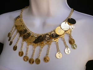 Women Gold Metal Coins Fashion Necklace 10 Drop Moroccan Stylish Earring