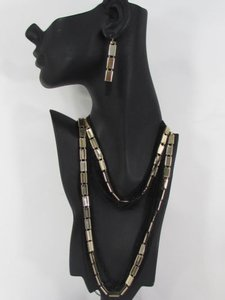 Women Long Multi Strands Gold Black Thin Chains Fashion Necklace Earrings