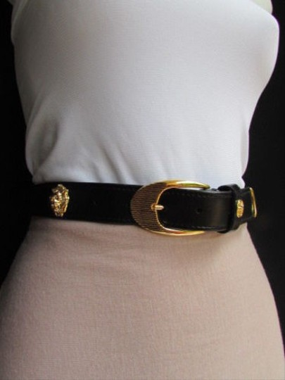 Other Women Black Faux Leather Thin Fashion Belt Gold Buckle Lion Head 28-32