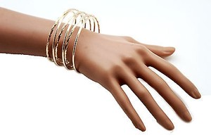 Other Women 3 Long Cutoff Gold Wide Metal Cuff Bracelet Jewelry