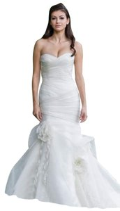 Augusta Jones Creme Organza Satin Mermaid Arabella Sexy Ruche Sweetheart Strapless Feminine Wedding Dress Size 10 (M)