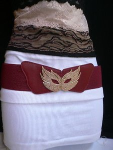 Women Hip Waist Elastic Red Belt Gold Carnival Mask Halloween 27-38