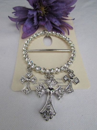 Other Women Scarf Crosses Big Dressy Adapt Pendant Silver Color Rhinesrones