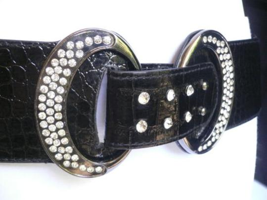 Other Women Hip Waist Elastic Black Fashion Belt Silver Rhinestones