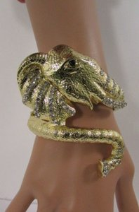 Women Gold Metal Elephant Cuff Bracelet Fashion Jewelry Silver Rhinestones