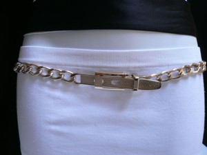 Women Waist Hip Light Gold Metal Chain Fashion Belt Trendy Style Sm 32-34