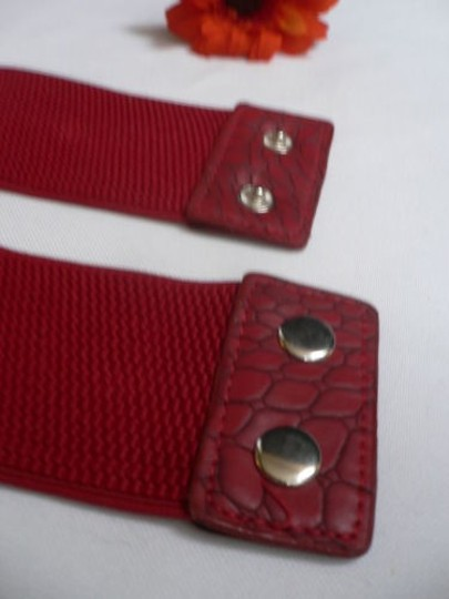 Other Women Hip Waist Elastic Two Rows Metal Rings Red Fashion Belt 28-35