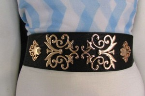 Other Women Black Beige Elastic Fashion Belt Hip Waist Gold Metal Filigree 26-36