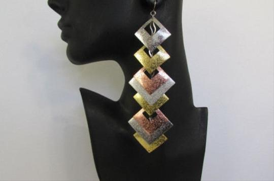 Other Women Multi Metal Gold Silver Copper Earrings Set Squares 7 Long