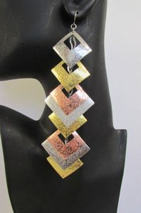 Other Women Multi Metal Gold Silver Copper Fashion Earrings Set Squares 7 Long