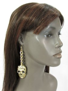 Other Women Earrings Set Gold Metal Chains Big Skull Hook Skeleton Halloween