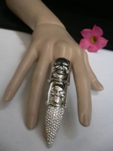 Women Silver Long Metal Finger Fashion Skulls Ring Trendy Nail Rhinestones