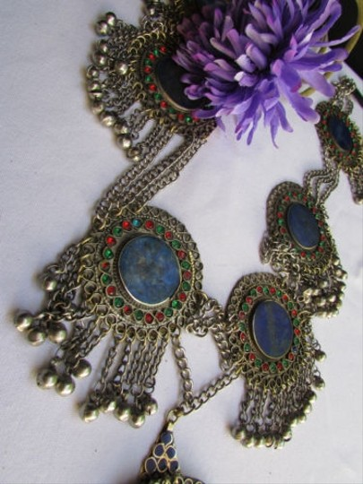 Other Women Silver Chains Blue Red Beads Fashion Metal Belt 35-39 Ml Pakistan