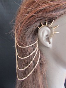 Other N Women Gold Chains Spikes Fashion Cuff Earring Hair Pin Connected Headband Claw