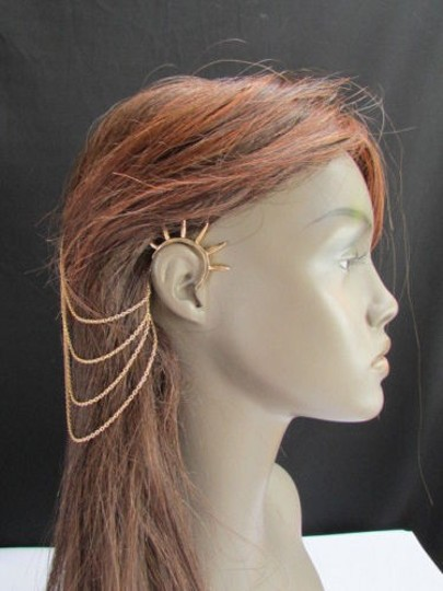 Other Women Gold Chains Spikes Cuff Earring Hair Pin Connected Headband Claw