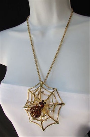 Other Women Gold Necklace Fashion Spider Web Pendant Brown Rhinestones
