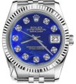 Rolex Women's 31mm Datejust Blue Color Treated Mop Mother Of Pearl Diamond Watch Rolex Women's 31mm Datejust Blue Color Treated Mop Mother Of Pearl Diamond Watch Image 1