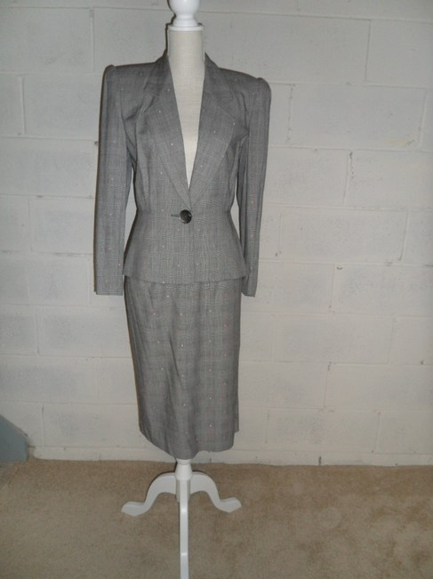 Other Grey Plaid Skirt Suit