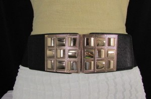 Other Women Black Elastic Fashion Belt Hip Waist Gold Squares Buckle 26-35