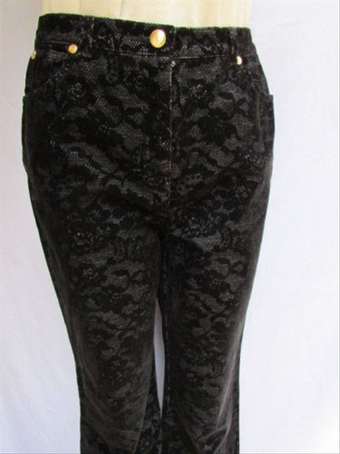 Escada Women Leaves Flowers Lace Fashion Dressy Denim Jeans 384 Pants