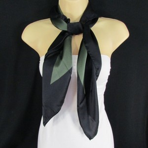 Escada Escada Women Black Dark Green Stripes Classic 100 Soft Silk Fashion Scarf Shawl