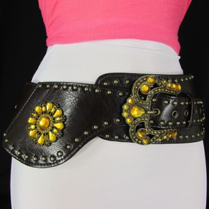 Other Women Brown Faux Leather Wide Western Fashion Belt Big Beads Buckle