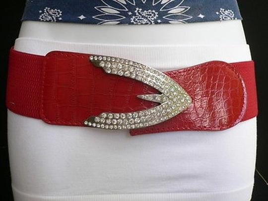 Other Women Hip Waist Elastic Red Fashion Belt Silver Arrow Buckle 26-38