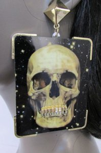 Women Fashion Earrings Big Skull Print Gold Metal Grillz Gold Teeth Caps