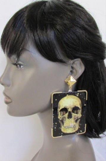 Other Women Fashion Earrings Big Skull Print Gold Metal Grillz Gold Teeth Caps
