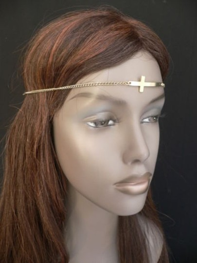 Other Women Gold Metal Cross Head Band Chain Grecian Circlet Fashion Jewelry