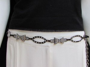 Women Waist Hip Pewter Metal Chains Bows Fashion Belt Rhinestones 30-40