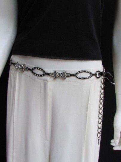 Other Women Waist Hip Pewter Metal Chains Bows Fashion Belt Rhinestones 30-40
