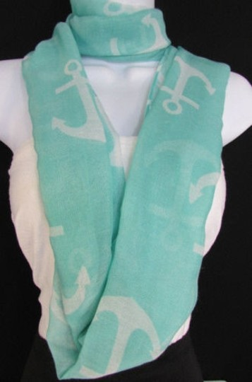 Other Women Fashion Fabric Infinity Loop Scarf Big Anchor Pink Black White Aqua