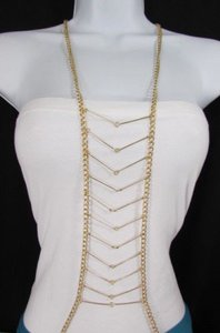 Other Hot Women Gold Multi Layers Chains Waves Metal Body Jewelry Long Necklace