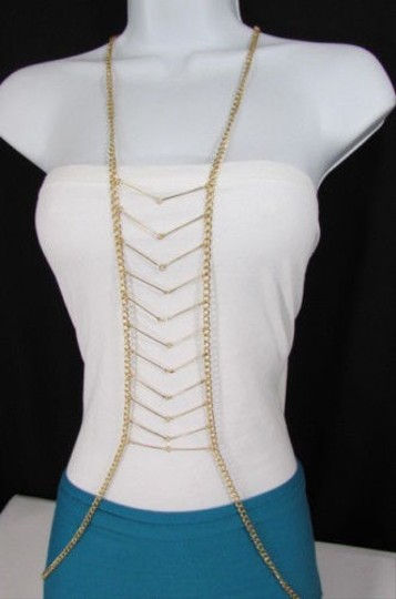 Other Women Gold Multi Layers Chains Waves Metal Long Necklace