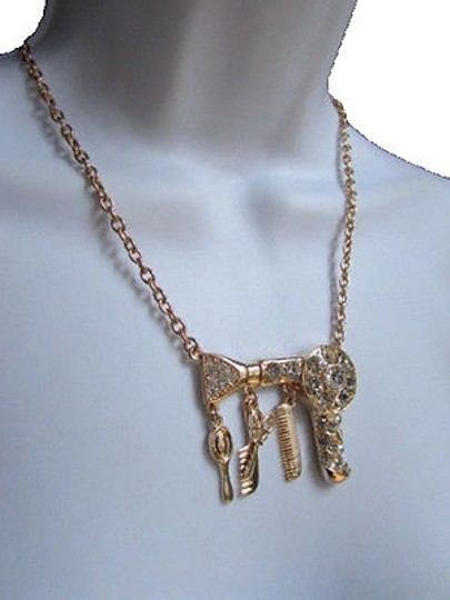 Other WomenNecklace Gold Metal Chains Hair Dresser Style Dryer Pendant