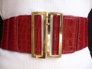 Women Low Hip High Waist Red Dressy Wide Belt Gold Metal Buckle 28-35