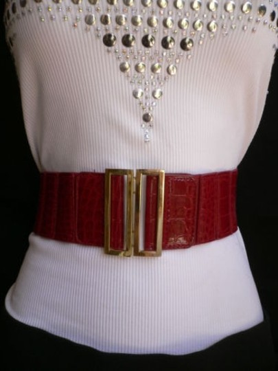 Other Women Low Hip High Waist Red Dressy Wide Belt Gold Metal Buckle 28-35