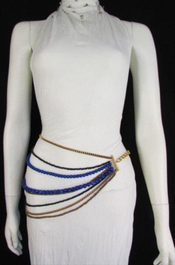Other Women Gold Bronze Metal Chains Blue Black Beads Strand Fashion Belt
