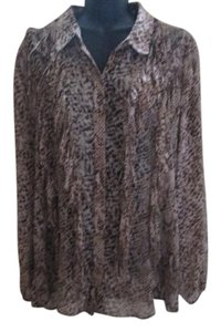 Chico's Snakeskin Animal Print Fringe Chiffon Semi Sheer Top Brown & Tan