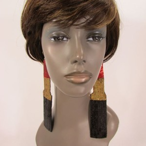 Women Long Red Gold Lipstick Sequins Hip Hop Fashion Hook Earrings Set