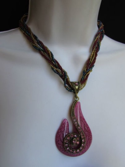 Other Women Necklace Beaded Fashion Purple Gold Glass Snale Pendant Pink Rhinesto