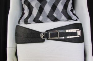 Other Women Black Elastic Fashion Belt Mini Silver Buckle Hip Waist 27-32