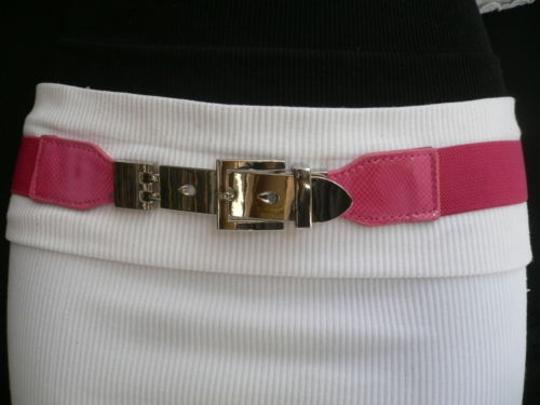 Other Women Elastic Hip High Waist Pink Thin Belt Long Silver Buckle 27-40 S-xl