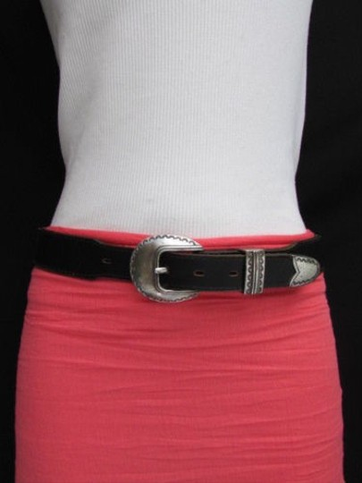 Other Women Black Leather Classic Fashion Thin Belt Silver Buckle 24-28