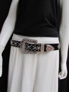 Other Women Black Leather Western Cross Rhinestones Belt Silver