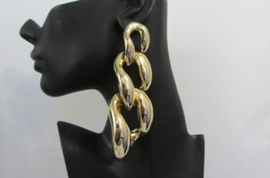 Other Women 5 Long Huge Chunky Link Chains Big Fashion Earrings Set Silver Gold