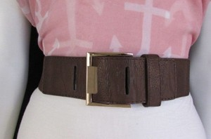 Women Black Brown Elastic Fashion Belt Hip Waist Gold Metal Buckle